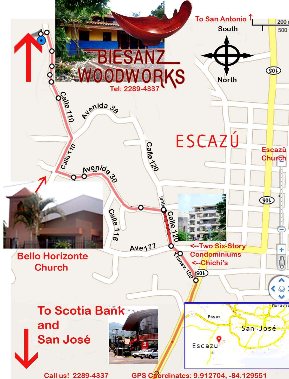 Map To Our Showroom In San Jose Costa Rica Biesanz Woodworks - Map of us and costa rica