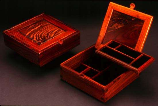 Square Cocobolo Rosewood Jewelry Box